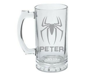 Spiderman Mug - PERSONALIZED Spiderman Mug  - DEEP ETCHED Spiderman Beer Mug - Spiderman Glass