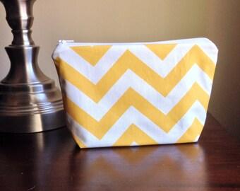 Makeup bag, cosmetic case, zipper pouch, clutch - Light Yellow Chevron