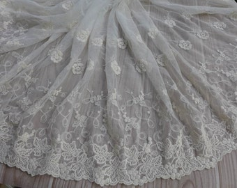 Wide Beige Embroidered Floral Lace Fabric Cotton Lace Trim Soft Tulle Lace Trim for Wedding Dresses Costume design