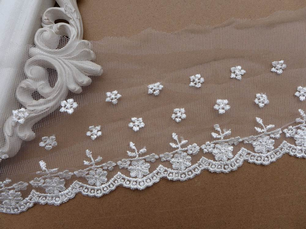 Sale rayon embroidered floral lace trim in ivory for bridal