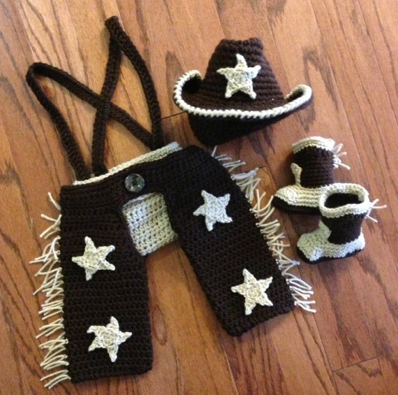 Crochet cowboy outfit with boots NB through by ...
