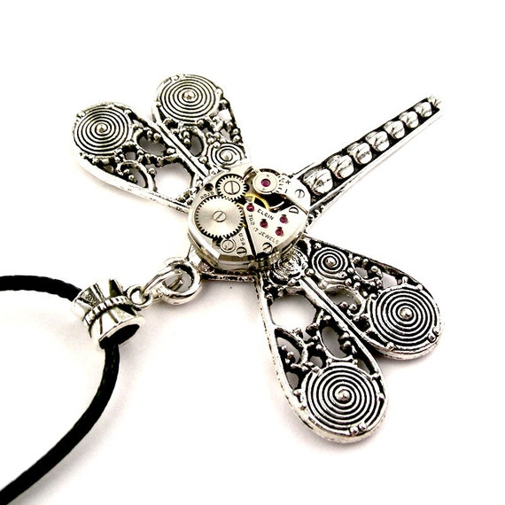 Steampunk Dragonfly Pendant Filigree WIngs Vintage by ...