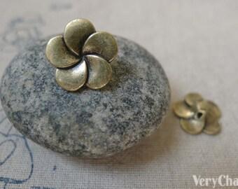 Flower Button Antique Bronze Five Petal Charms 14mm Set of 20 A5960