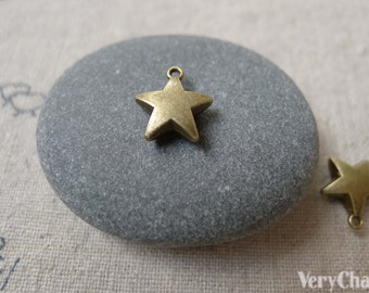 50 pcs of Antique Bronze Thick Star Charms 10mm A7132