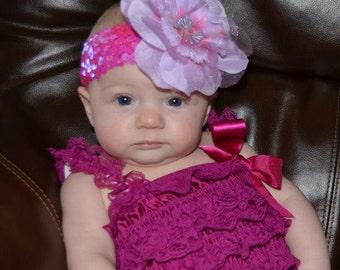 Newborn Plum/Magenta Petti Romper w/ Matching Headband