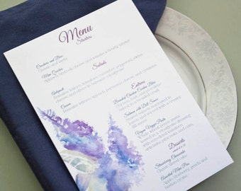 Lilac Delphinium Menu Cards, Floral Painting, Custom Personalized Reception Stationery