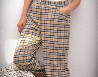 90s vintage women'shigh waisted chequered patterned pant
