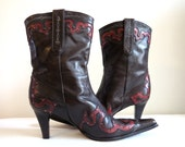 Vintage Antonio Melani Chocolate Brown Embroidered Cowgirl Boots High Heel Leather Pointy Toe Size 8.5 EUR 39