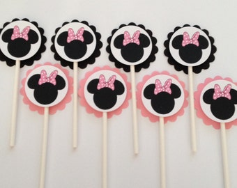 x24 Minnie Mouse Pink Bow Inspired Cupcake Toppers