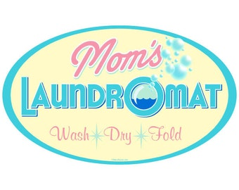 Moms Laundromat Yellow Oval Wall Decal #45852