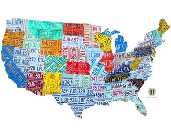 United States License Plate Map Wall Decal #48384