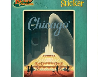 Chicago Illinois Fountain Vinyl Sticker #47916