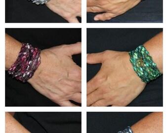 wrap bracelet, crocheted bracelet, crochet anklet, necklace, bracelet, jewelry, mothers day gift, birthday gift, ladder yarn, trellis yarn