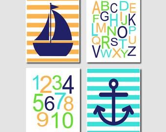 Nautical Nursery Baby Boy Art Navy Turquoise Orange Alphabet Numbers ABC 123 Set of 4 Prints Sailboat Anchor Nursery Wall Art Decor Picture
