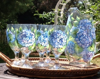 Blue Hydrangeas Hand-Painted 7-piece Hostess Set