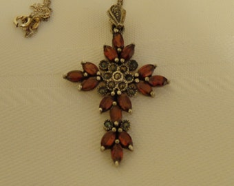 Garnet and Marcasite Sterling Silver Cross by D.E.J.