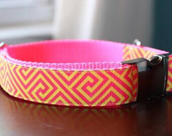 Pink and Green Greek Key Dog Collar - Size MEDIUM