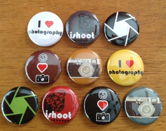 Photography Pinback Button Set of 10 Photography Lover Buttons, Camera, Photo, Photography