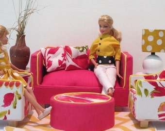Tomato Red Linen Barbie Sofa