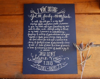 hand written vows. wedding vow artwork . calligraphy vows . favorite poem . 8.5 x 11 card stock with personal vows hand written