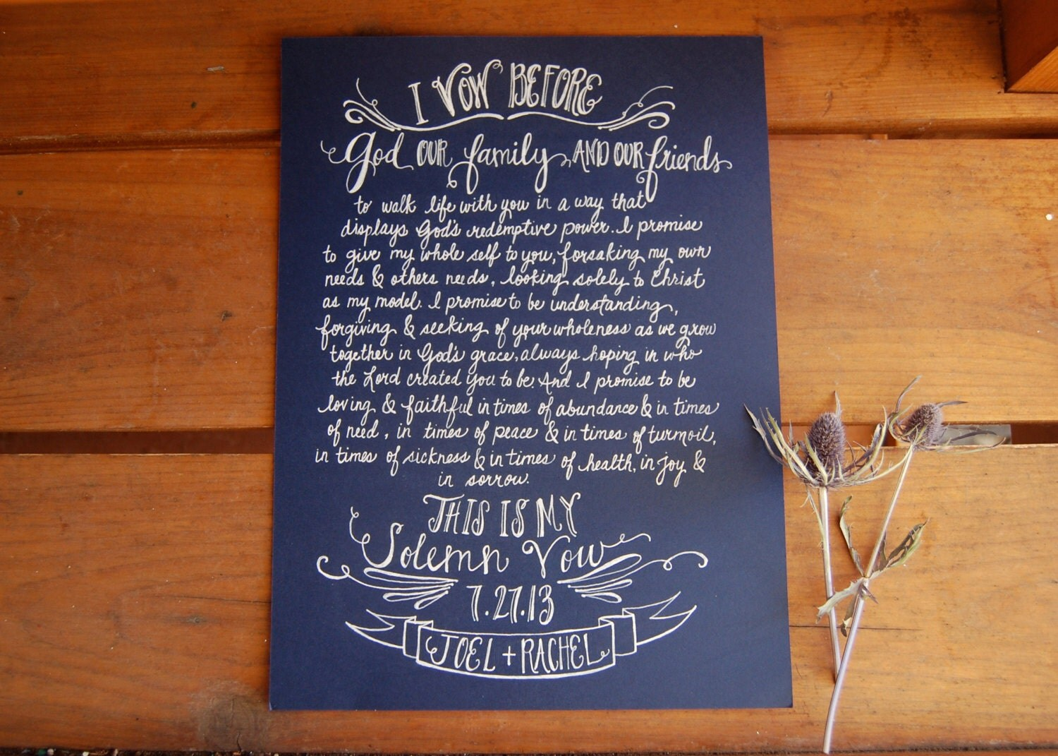 Bride And Grooms Vows Written Out In A Beautiful Art Form Painting Handwritten Calligraphy Words Over Blurry Picture Of The Two On Canvas
