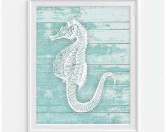 Seahorse Art Print, Nautical Wall Art, Blue Nautical Decor, Sea Life Art