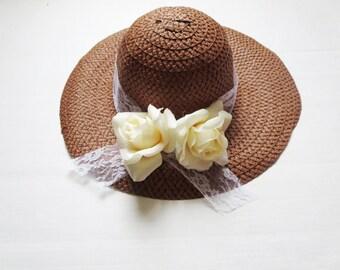 Sun hat, beach hat, a wide-brimmed straw hat, straw hat, summer hat, women hats, ladies straw hats.Violet-Pink  flower hat
