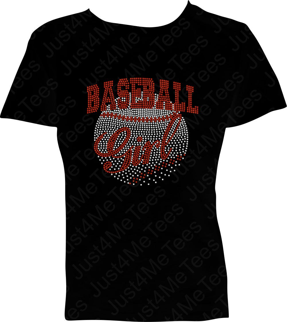 Baseball Girl Bling T Shirt Shirt Glitter Bling By Just4metees
