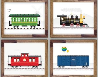 "Train Art Prints / Train Wall Art / Steam Train / Railroad Art Print / 8 x 10"" Art for Boys Room - Four Prints"