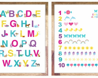 Alphabet & Numbers Print / Posters 12 x 16 or 11 x 14 Art for Girls Room Personalized
