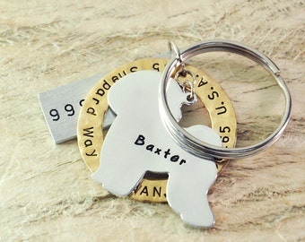 Bichon  dog tag personalized  dog tag 3 piece Pet tag Pet Id Tag Hand stamped  custom Made with your Pets Name/phone number