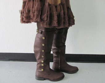 Lady's Lily Medieval Boots, Renaissance Boots, Boots, Knee High Boots, Steampunk Boots, Costume Boots, Stage Boots
