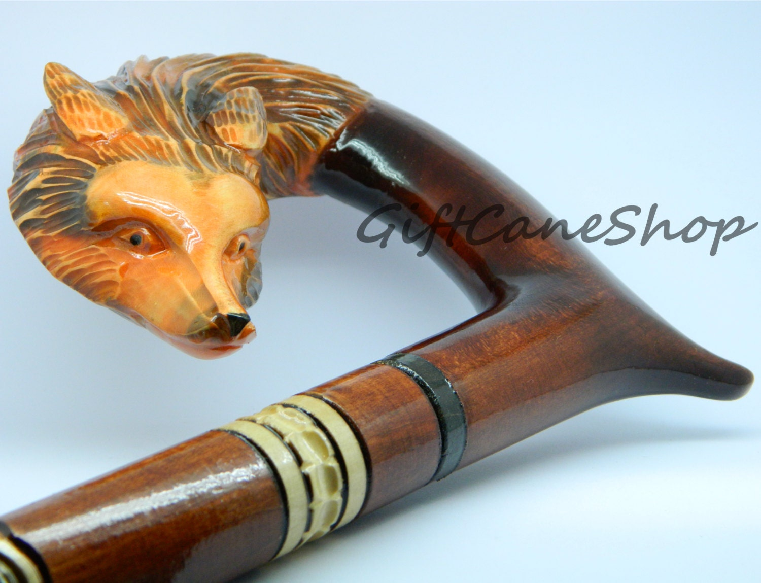 Walking Stick Cane Fox Hand Carved Of Beech Wood