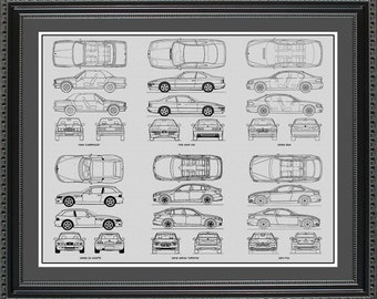 BMW Blueprint Collection Drawing Art Car Auto Gift BBMWO2024