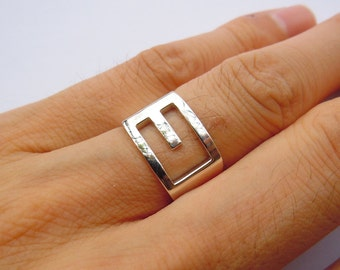 Items similar to oxidized copper letter initial ring for Letter e ring