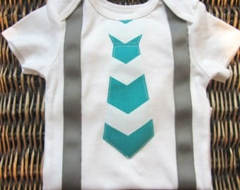 Baby Boy Clothes - Baby Boy Tie and Suspenders Outfit - Teal Blue Chevron Tie With Grey Suspenders - Coming Home Outfit