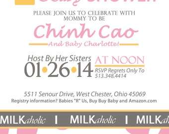 Custom Milkaholic Baby Shower Invitation