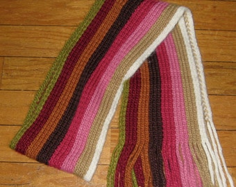 Hand Knitted Multi Colored Scarf