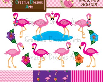 40% Off! Flamingo Clip Art Instant Download