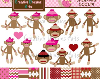 40% Off! Sock Monkey Digital Clip Art Instant Download