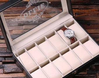 mens watch box set of 5 watch box for men black personalized christmas anniversary father s day birthday graduation gift