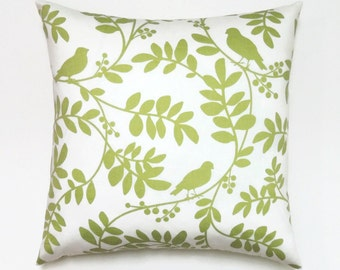 Green Pillow, 18x18 Pillow Cover, Spring Decor, Decorative Pillows, Modern, Cushion Covers, Botany Flora Twill Leaf