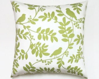 Green Pillow Covers, 20x20 Pillow Cover, Modern Decorative Pillows, Sofa Cushion Covers, Botany Flora Twill Leaf