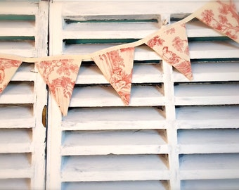 Red toile de jouy bunting, French banner, handmade vintage style