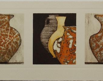 Roman Pots VII - An Original Collograph Print
