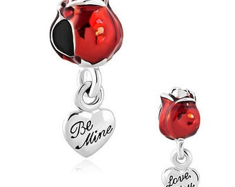 Pugster - Be Mine - Love You - Rose - Silver Plated - Large Hole Spacer Bead - Fits European