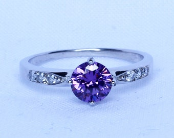 Natural Amethyst Solid Sterling Silver Solitaire engagement ring