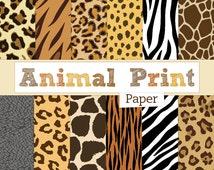 Animal Print Digital Paper Pack Zebra Print, Leopard Print, Tiger Stripes, Giraffe Spots, Elephant Skin Textures - Instant Digital Download