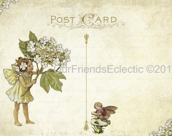 Digital printable file for diy Vintage postcard Flower Fairy Invitation template Add your own text