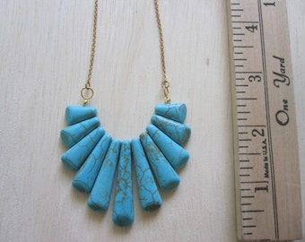 Turquoise Howlite Drop Necklace